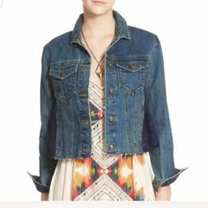 Free People Women's Small Sheer Lace Denim Jacket